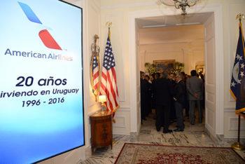 Recepción de American Airlines en la Residencia oficial.
