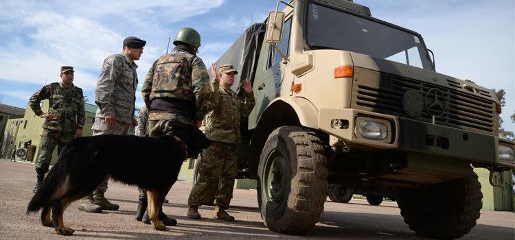 Ejercicios de entrenamiento con perros junto a un camión militar. [U.S. Embassy Photo: Juan Francisco Casal]