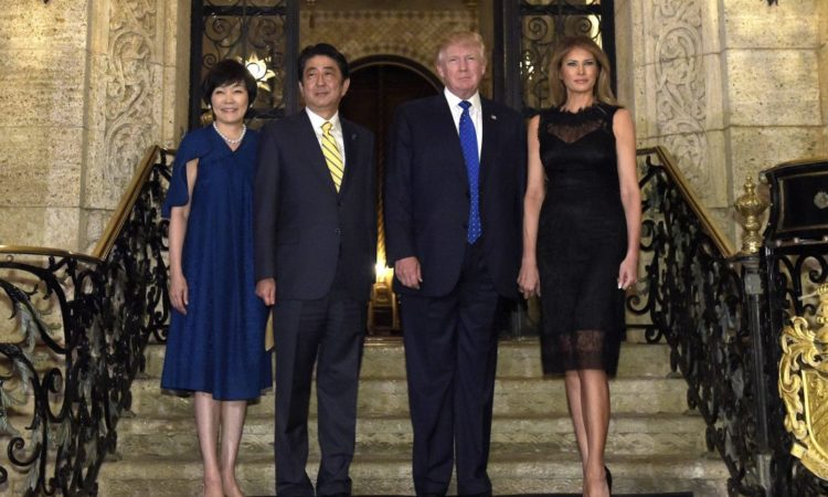 President Trump, second from right, and first lady Melania Trump, right, with Japanese Prime Minister Shinzo Abe, second from left, and his wife, Akie Abe. (© AP Images)